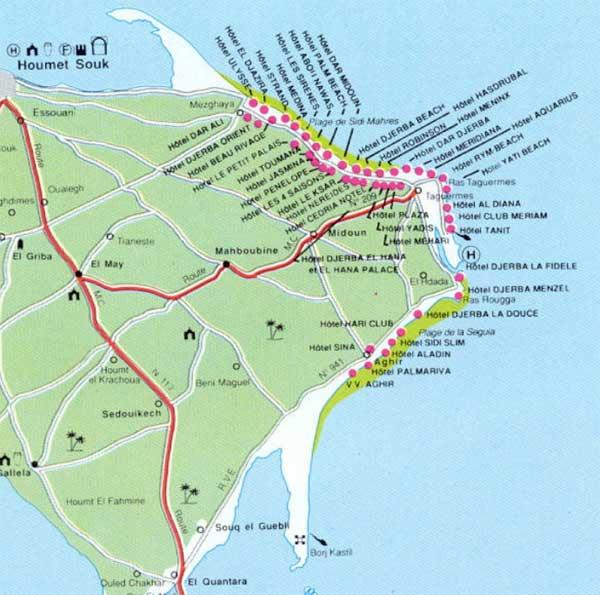 карта острова джерба с отелями